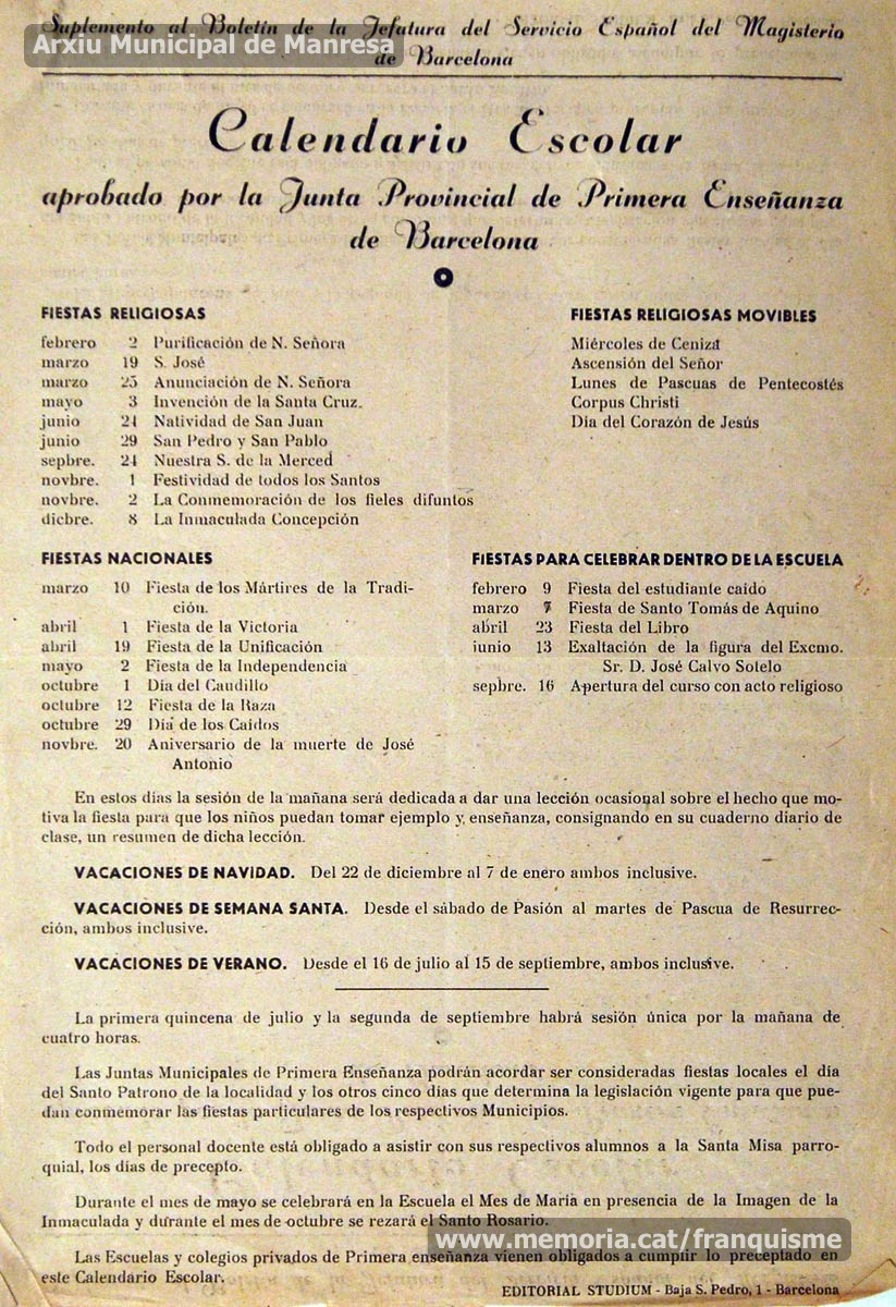 Calendario Escolar Barcelona.La Actividad Escolar Franquisme