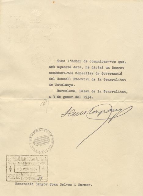 Carta de Lluís Companys a Joan Selves