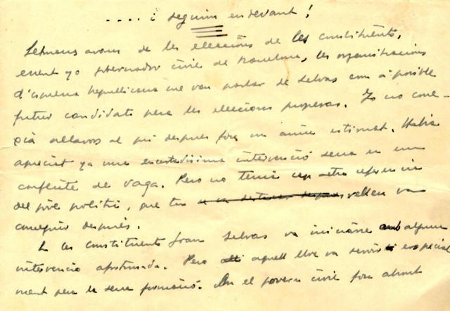 Joan Selves. Escrit de Lluís Companys (2)