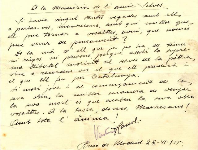 Joan Selves. Escrit de Ventura Gassol