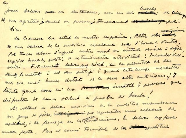 Joan Selves. Escrit Lluís Companys (1)