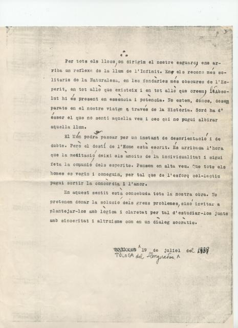 Serra i Húnter. Escrit inèdit del 1939. Tolosa de Llenguadoc