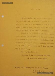 09/09/1938. Ofici adreçat per l'alcalde de Manresa al comandant de la plaça,