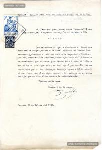 23/2/1937. Instància a l'Ajuntament per part de Josep Culla Torrentallé que regenta el Cafè del Centre de Dependents