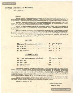 31/7/1937. Comunicat de l'Ajuntament de Manresa que anuncia una contribució extraordinària