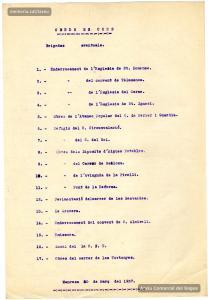 30/3/1937. Llista d'obres públiques en curs durant la guerra