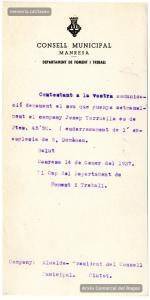 13 i 14/1/1937. Consulta i resposta sobre el sou setmanal d'un membre de la brigada