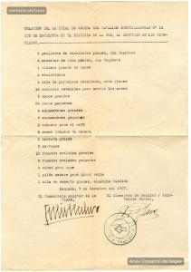 7/11/1937. Llista d'estris de cuina pertanyents a l'exèrcit dipositats a la Seu