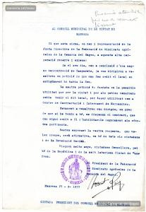 23/2/1937. Sol·licitud adreçada a l'Ajuntament per la Federació de Sindicats Agrícoles del Bages,