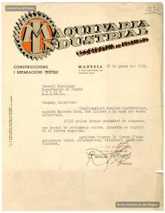 29/1/1938. Carta-albarà de Ramon Fàbregas, president de Maquinària Industrial, a l'Ajuntament de Manresa