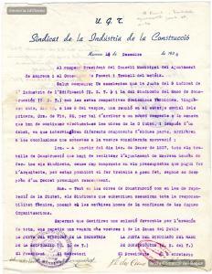 14/12/1936. Carta adreçada a l'alcalde pels sindicats de la construcció