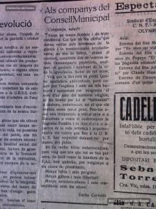 Polèmica entre Pere Fitó (Mariné) i Zurita Cervelló sobre l'ensorrament de la Seu