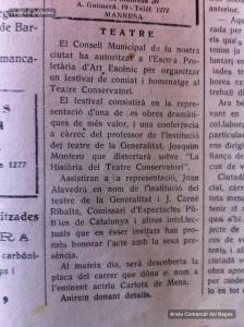 20/2/1937: informació sobre l'autorització de l'Ajuntament a l'Escola Proletària d'Art Escènic
